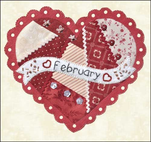 ~ Free Patterns ~ Celebrate the Year BOM:  twelve different heart blocks can be downloaded at Shabby Fabrics (until March 2014)