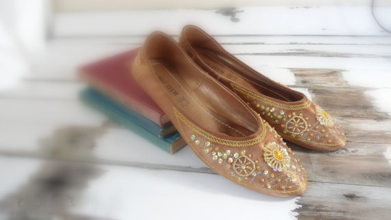vintage brown gold mules leather flat shoes  by Sweetlakevintage, $38.00