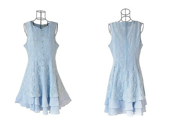 Adorable Vintage Lace Dress // Baby Blue Dress // Baby by LPSNUG