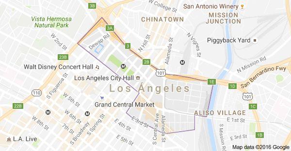 Mapa de Little Tokyo, Los Ángeles, California, EE. UU.