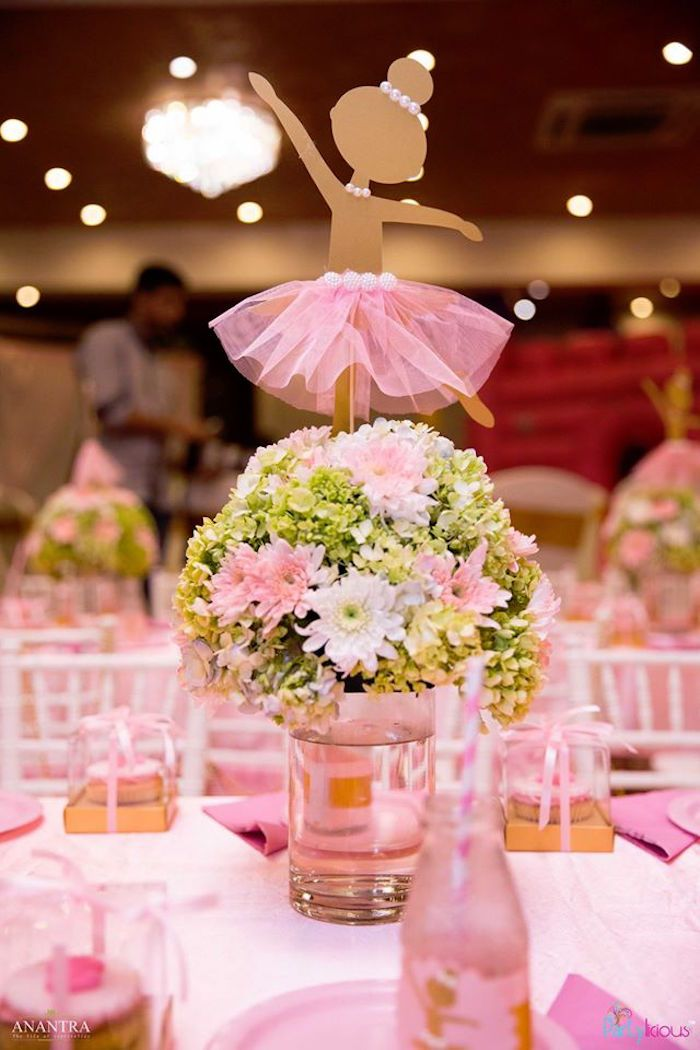 Floral ballerina centerpiece from a Pink Ballerina Birthday Party on Kara's Party Ideas | KarasPartyIdeas.com (13)