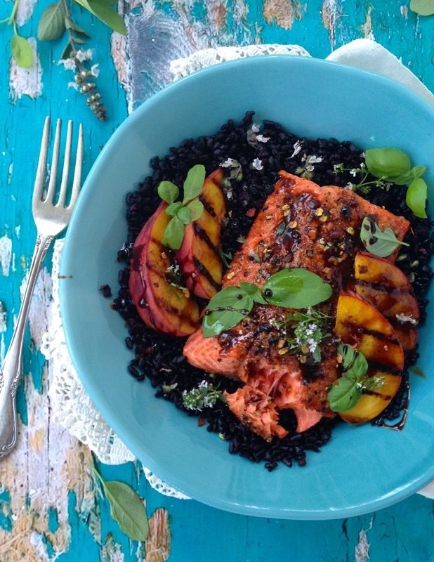 Grilled Peach Balsamic Salmon Fillets with Black Rice