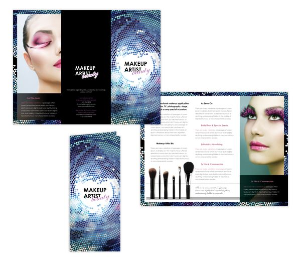 Makeup artist tri fold brochure template brochure for Art brochure template