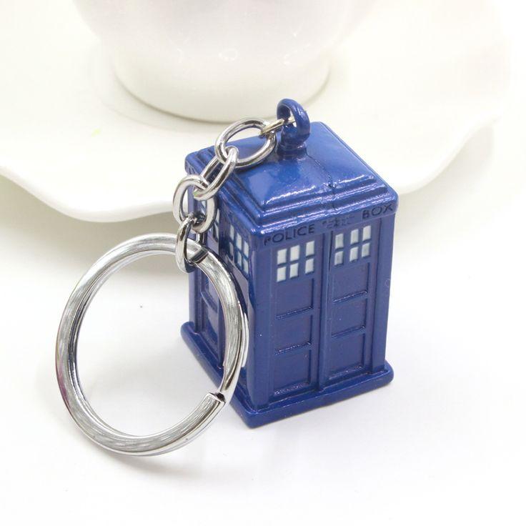 Hoge Kwaliteit Arts Die Blauw Emaille TARDIS Politie Doos Sleutelhanger voor Mens Verenigde Koninkrijk TV Sieraden Sleutelhangers Ring Gratis verzending
