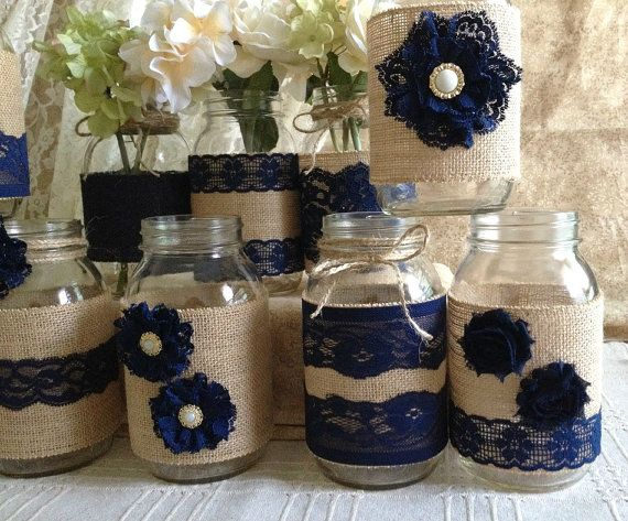 10x rustic burlap and navy blue lace covered mason jar vases wedding decoration…