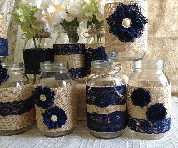 10 x arpillera rústica y encaje azul marino cubierto de tarro