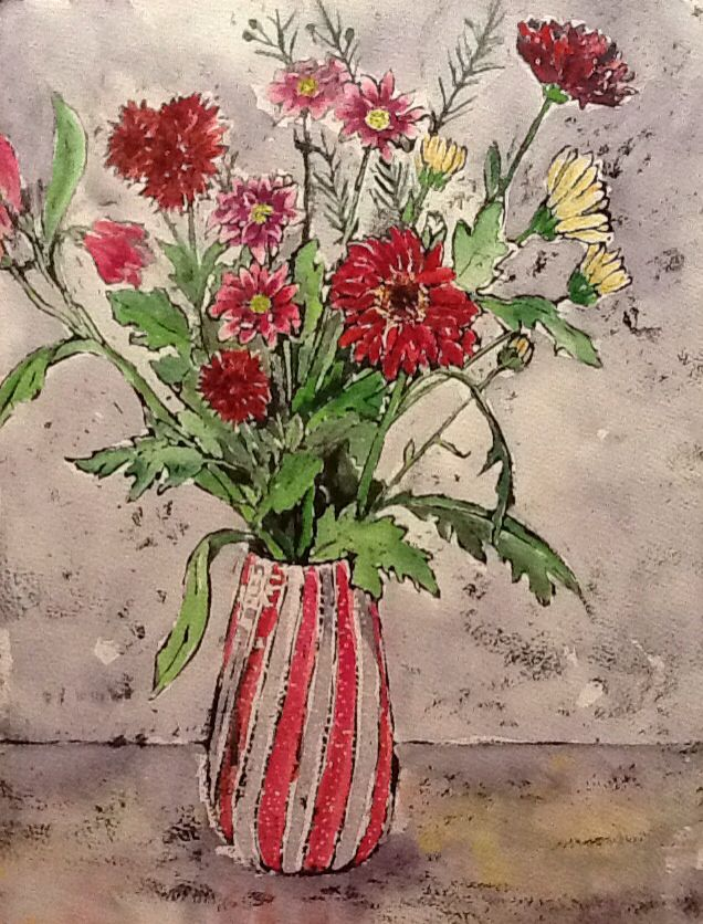 Magenta Mix - watercolour and Indian ink -Hilary Buckley www.dorset-artist.co.uk