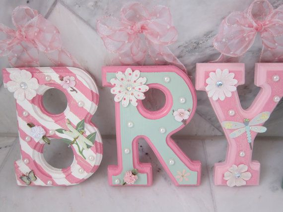 CUSTOM Hanging Wall Letters for Nursery or Kids Bedroom; Pink and Mint Nursery