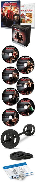 LES MILLS PUMP DVD Workout Package      Engineer your perfect body with LES MILLS PUMP. This barbell-based rapid weight loss and accelerated strength-training program incinerates calories to help give you the ultimate tight, toned, and lean body you want. The secret is THE REP EFFECT™, which requires that you use lighter weights at a higher rate of repetition so you can burn up to 1,000 calories per workout and get leaner faster.    The system includes your very own barbell—the