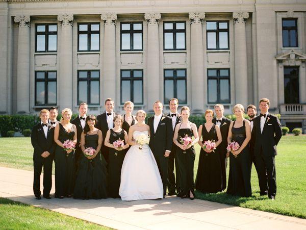 elegant black and white bridal party