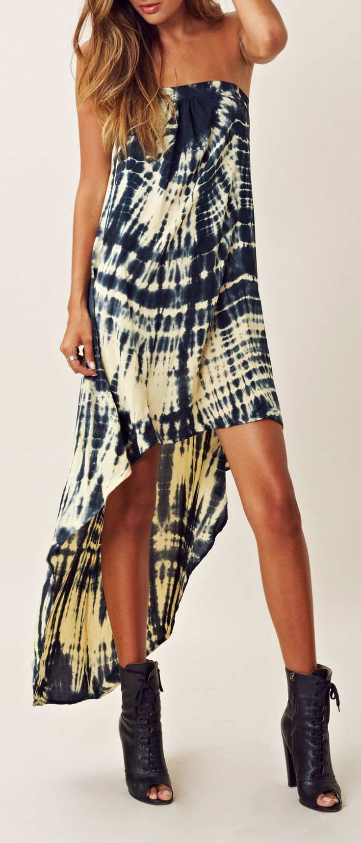 Modern hippie tie dyed multilevel maxi dress with short boho chic boots. For the BEST Bohemian fashion style FOLLOW http://www.pinterest.com/happygolicky/the-best-boho-chic-fashion-bohemian-jewelry-gypsy-/ now.