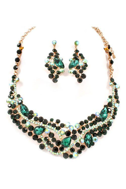 Emmaline Crystal Statement Necklace Set in Emerald on Emma Stine Limited