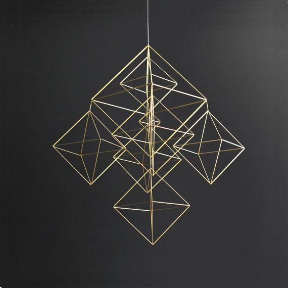 Large Brass Himmeli / Modern Hanging Mobile / Geometric by HRUSKAA, $265.00