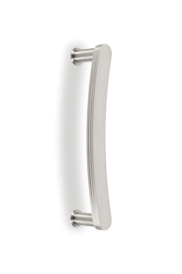 Small bow door handle has a hefty feel and grip, defined by its solid construction and fine craftsmanship. Stately arcing bow design suitable for any door type. Distinct layers give an interesting ridged aesthetic, and in spite of the triple thick handle and substantial weight, it still manages to look thin as a wisp and maintain a subtle complementary appearance. <br />Sold individually. Mounting hardware included.
