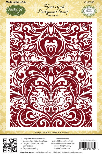 Heart Scroll Background StampJustrite Heart, Backgrounds Lg, Inspiration, Beautiful Stamps, Backgrounds Stamps, Cl03700, Heart Scrolls, Clings Backgrounds, Scrolls Backgrounds