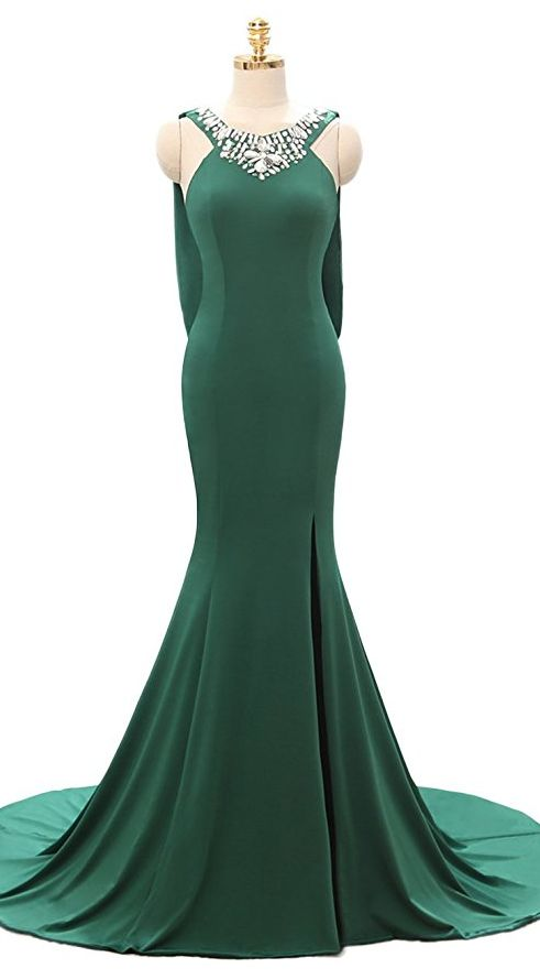 2017 A Line Train Emerald Homecoming Dresses Side Split Long Prom Gowns