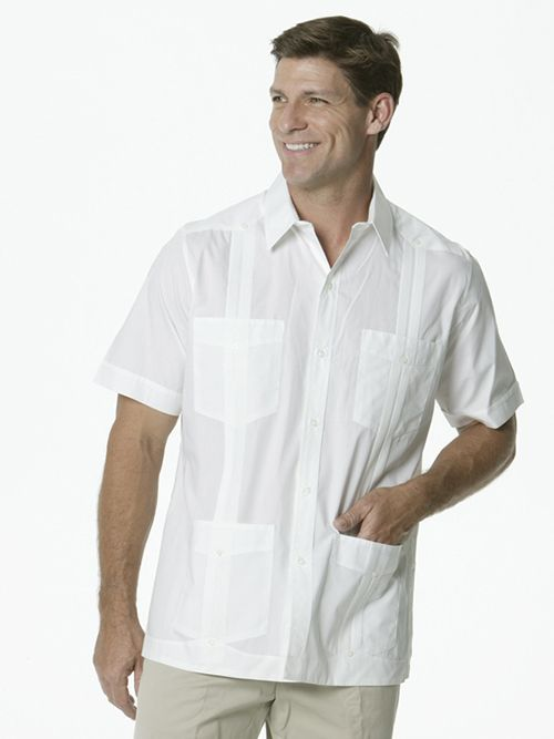 4634d474bc D Accord Men s Cuban Guayabera White Pima Cotton 2531