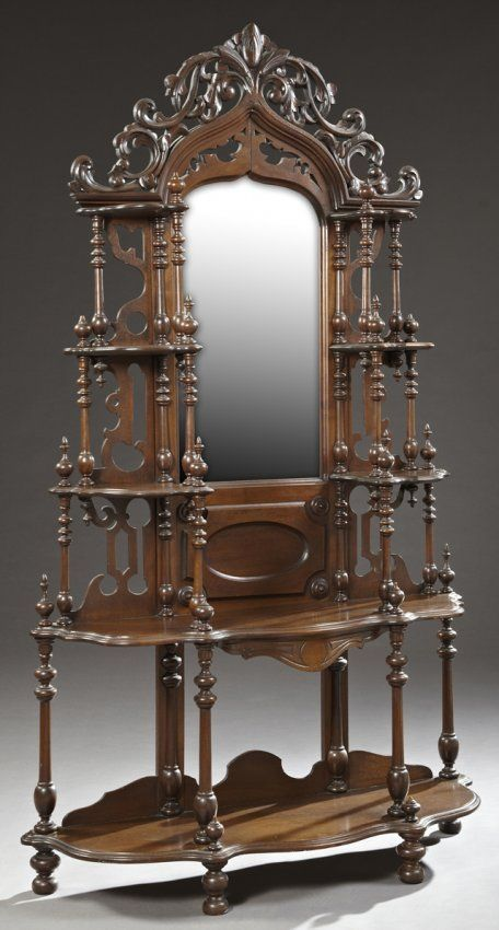 American Victorian Carved Walnut Etagere, c. 1890, :