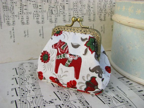 Coin purse clutch with Dala Horse