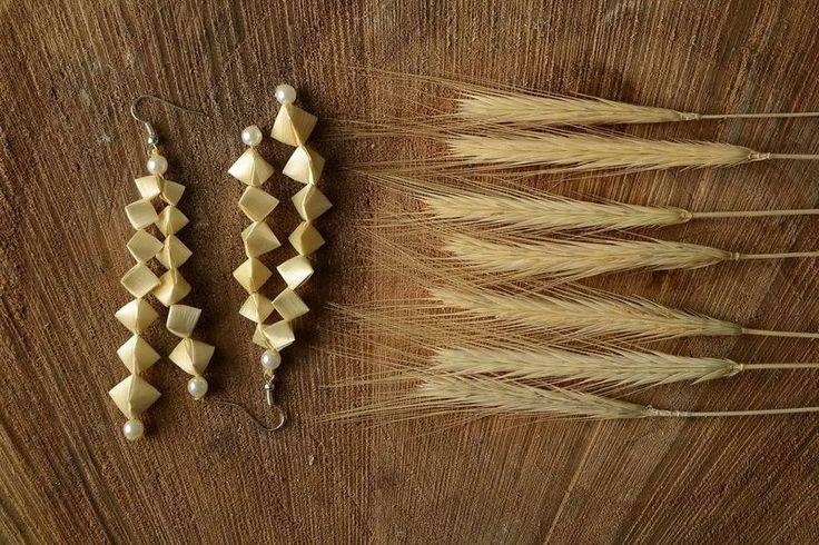 """Beige Ohrringe """"Rhombus""""  von Ethnische Geschenke auf DaWanda.com"""