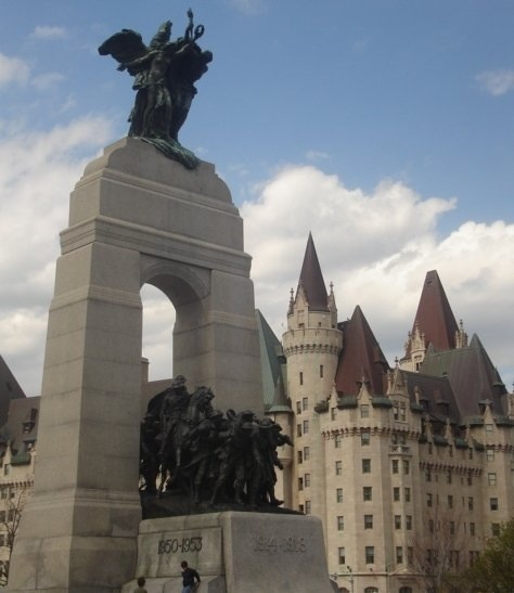 War Memorial at Elgin & Wellington Streets, across from Chateau Laurier Hotel