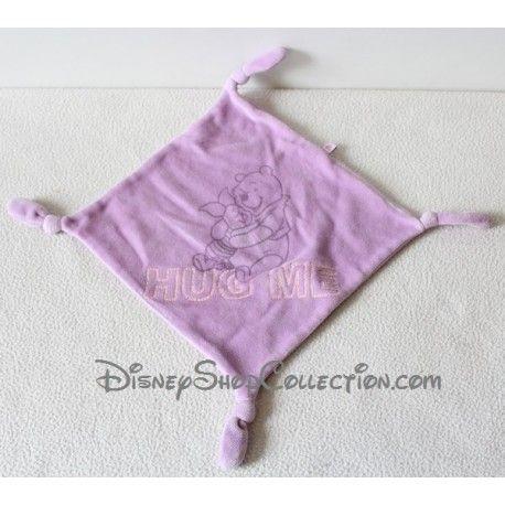 Doudou plat Winnie l'ourson DISNEY CARREFOUR Hug Me carré violet 4 noeuds