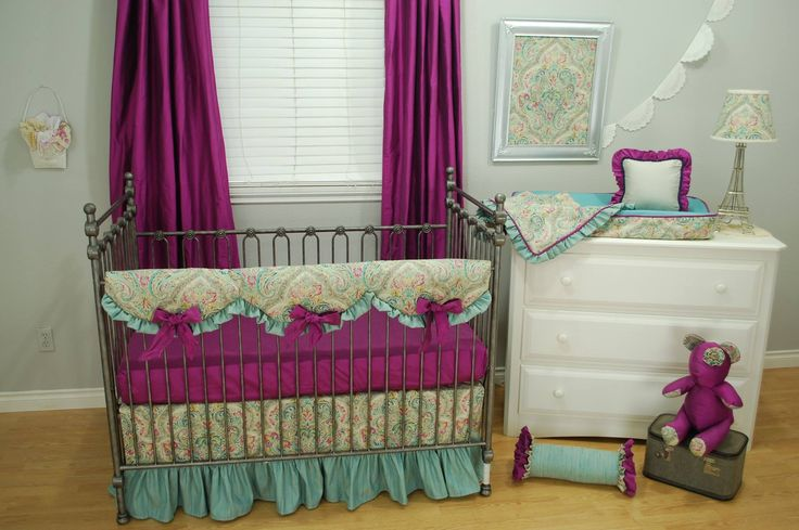 Shabby Chic baby nursery decor with a Paris theme lamp and travel case and custom bedding in grey, orchid and aqua by Pine Creek. white dresser from Baby's Dream Furniture