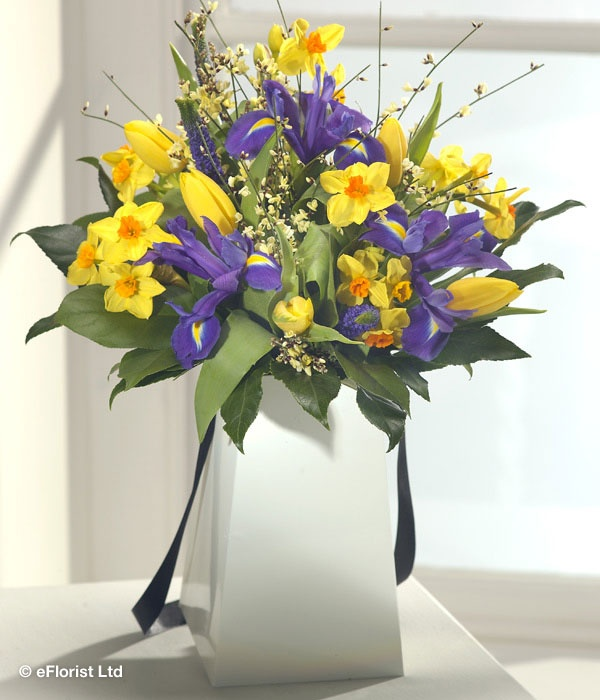 After the Rain - Bring the sunshine in this spring with this fabulous gift vase arrangement. Yellow Paperwhite Narcissi, Tulips and Genista are accompanied by stunning Iris blooms and purple Veronica.
