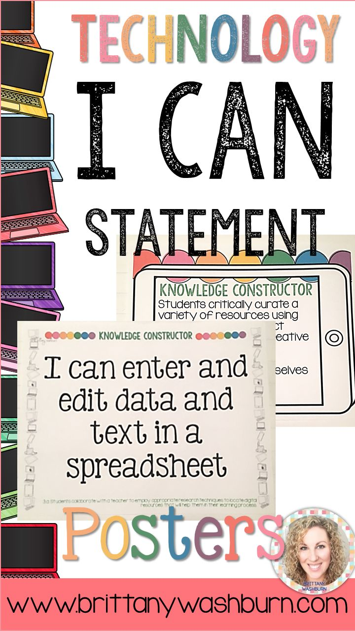 This amazing resource includes full-sheet I Can Statements posters for the ISTE NETS for students. These are perfect to put up in a computer or technology lab. This now includes half-page I Can Statements, too!