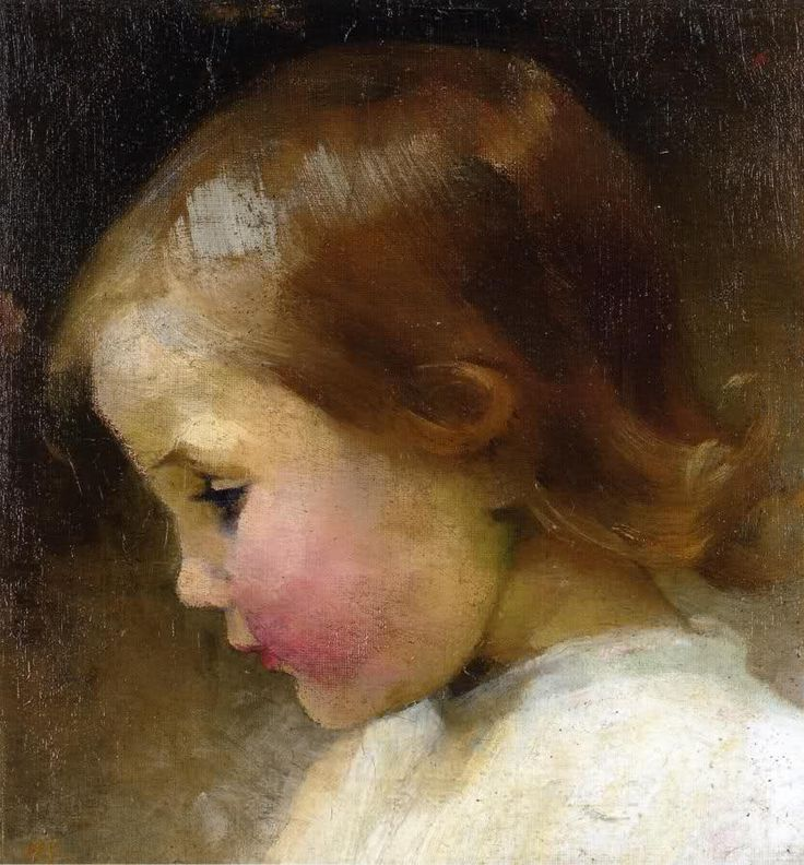 Helene Schjerfbeck (Finnish, 1862-1946) Baby Girl, oil on canvas, laid down on cardboard , 26.6 cm x 23.5 cm, private collection.