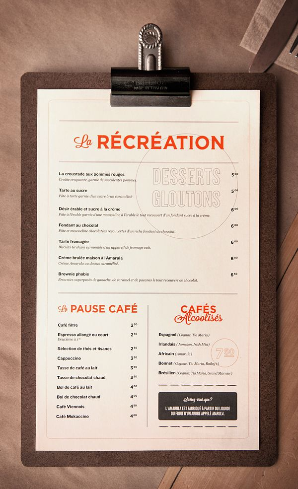 Nice typography menu design