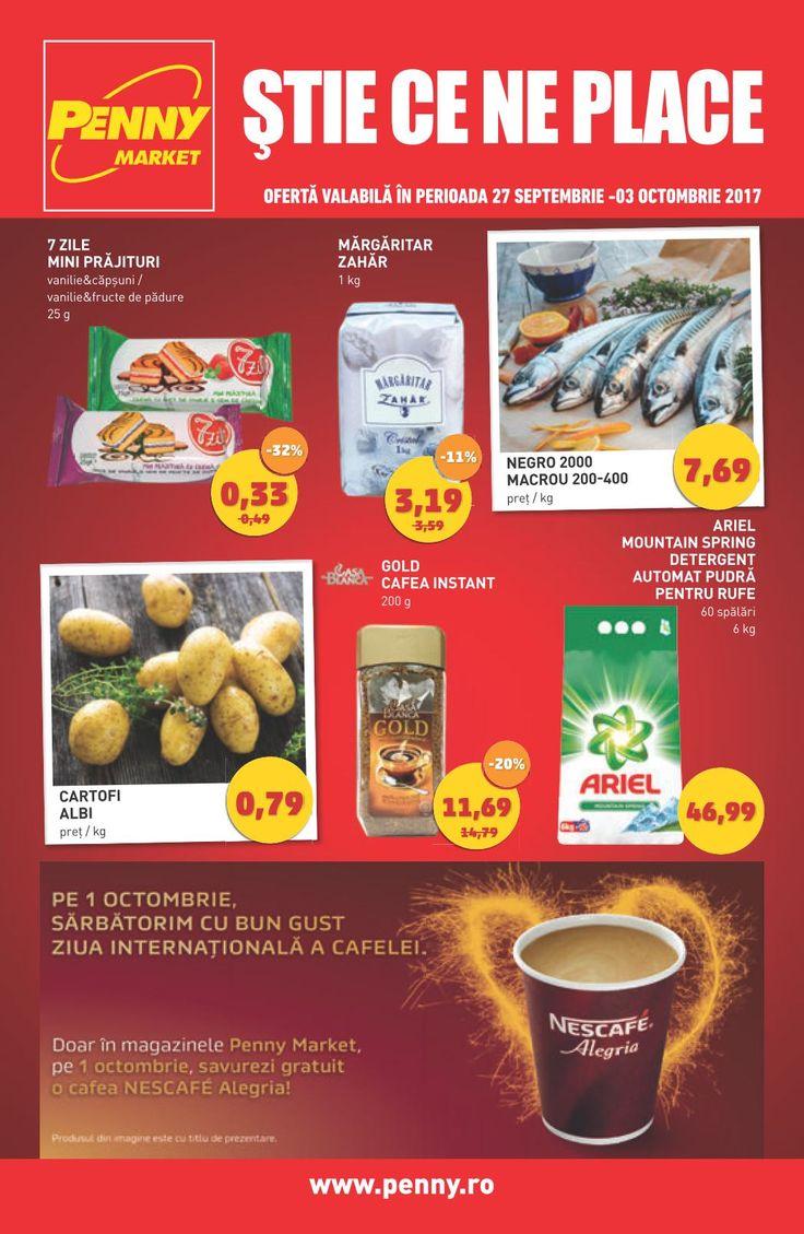 Catalog Penny Market 27 Septembrie - 03 Octombrie 2017! Oferte: Gold cafea instant 200 g 11.69 lei; Ariel mountain Spring detergent automat pudra