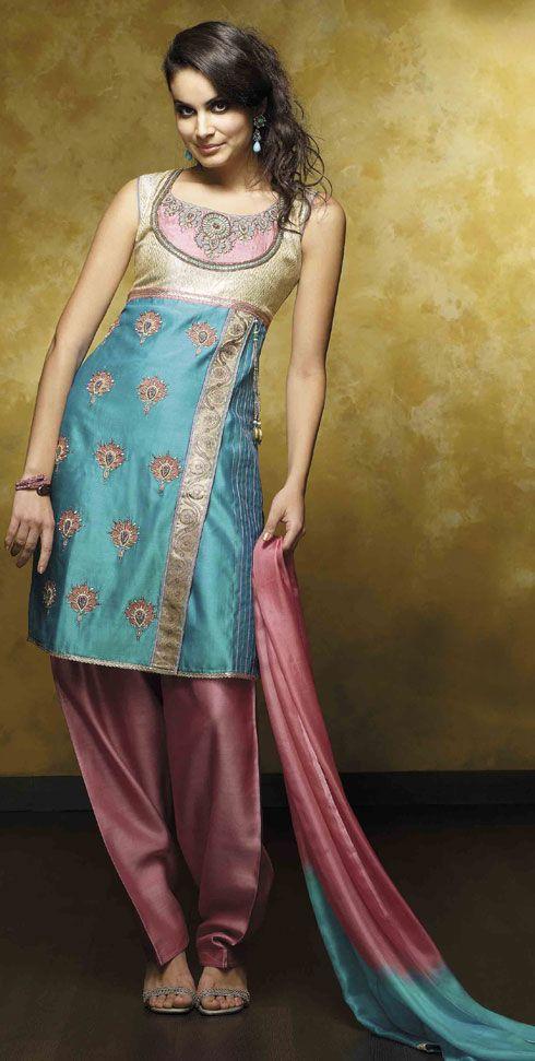 Blue & Pink Silk Salwar Kurta