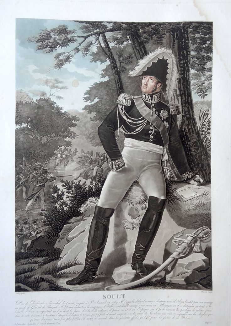 Jean-de-Dieu Soult (né le 29 mars 1769 à Saint-Amans-la-Bastide - mort dans la même ville le 26 novembre 1851) - Maréchal d'Empire - gravé par Charon d'après Aubry et publié chez Jean - MAS Estampes Anciennes - Antique Prints