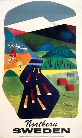 "Northern Sweden poster by S. Kreder, 1950s. 24.5"" x 40"", $295."