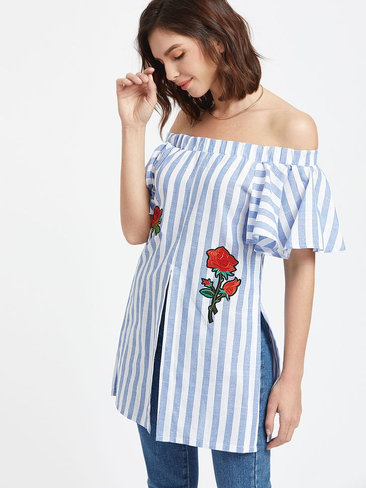 Shop Blue Striped Off The Shoulder Embroidered Slit Hem Top online. SheIn offers Blue Striped Off The Shoulder Embroidered Slit Hem Top & more to fit your fashionable needs.