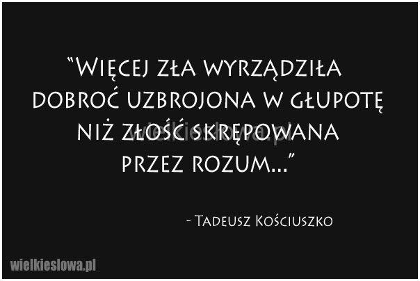 Więcej zła wyrządziła dobroć uzbrojona w głupotę... #Kościuszko-Tadeusz,  #Dobro-i-sprawiedliwość, #Głupota-i-naiwność, #Rozsądek-i-rozum, #Sarkazm-i-ironia, #Zło