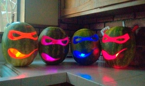 Ninja Turtles party decoration made from watermelon with Glo Sticks instead of candles