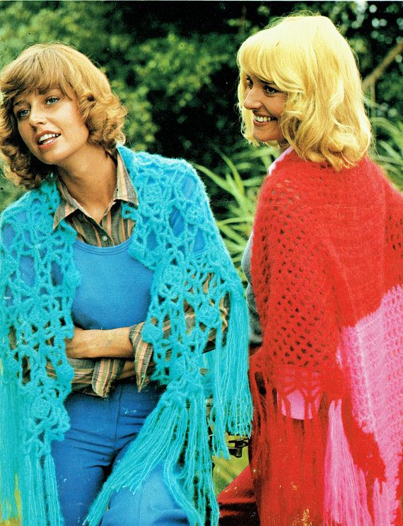 PDF Vintage Womens Ladies Boho Shawl Crochet Pattern Gypsy