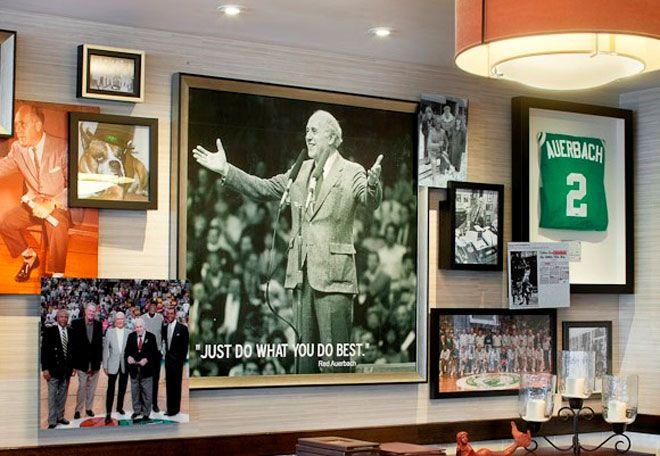 Sports memorabilia wall idea