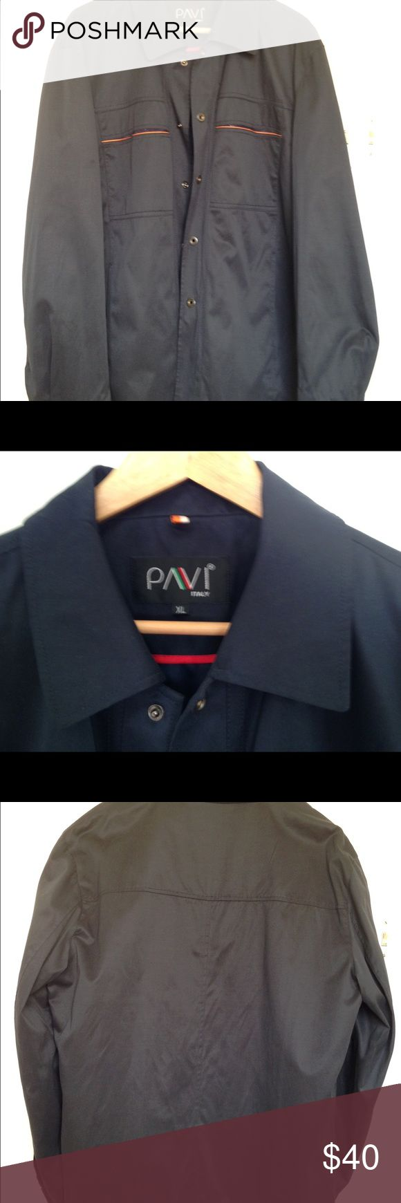 """Man light jacket lining snap closure sz XL Light jacket with lining, collar, two chest  and two band pockets, long sleeves with snap cuffs, 5 snap front closure. Dark blue. Measurements: armpit to armpit 24""""; length 31""""; hip 20"""";  sleeves 25"""". Made in Italy. PAVI Jackets & Coats Blazers"""