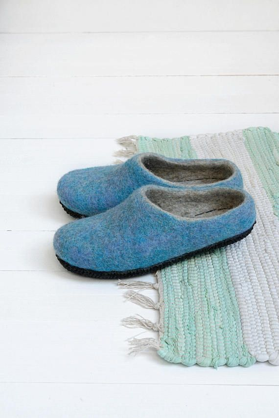 a0a438ae03d Warm womens blue felt slippers- ladies felted wool bed slippers- boiled wool  clogs- womens mules- female slippers- home sandals- gift women