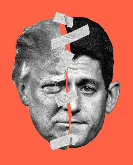 In papering over their differences with Donald J. Trump, Republican leaders fail to address the split in the GOP. Republican leaders will rationalize their way to Trump because they are desperate to win, this Editorial argues. (Illustration: Alvaro Dominguez; Photographs: Chad Batka and Zach Gibson)