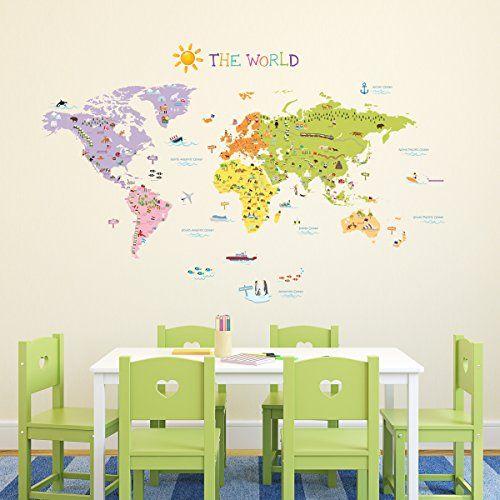 Decowall, DMT-1306, Le decalcomanie Mappa del Mondo adesivi murali / parete / trasferimenti tatuaggi da parete / parete