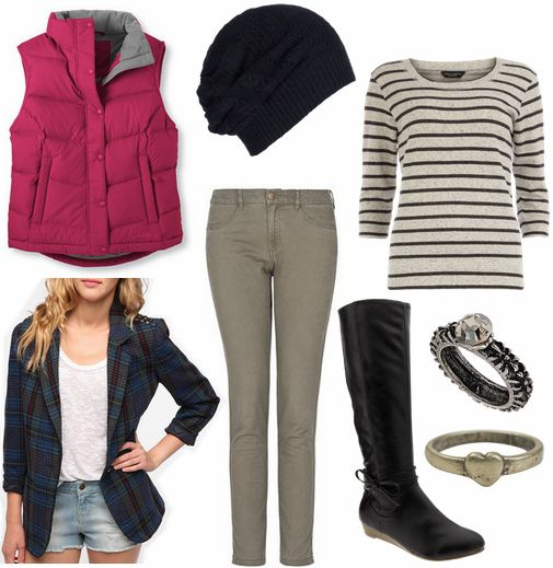Gray Black Striped Long Slv Top + Gray Skinny Jeans + Black Riding Boots + Gothic themed Rings