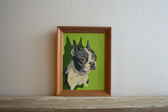 midcentury framed paint by number picture by aneedleinthehay, $65.00