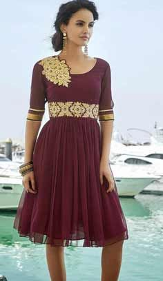 Beautiful Latest Burganddy Faux Georgette Kurti