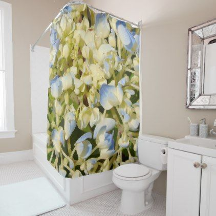 #Blue and creamy white hydrangea flowers photo shower curtain - #Bathroom #Accessories #home #living