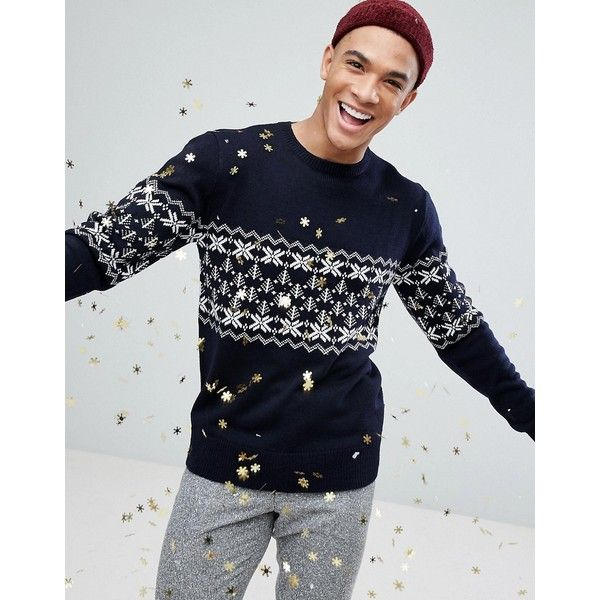 French Connection Fairisle Christmas Jumper (651.000 IDR) ❤ liked on Polyvore featuring men's fashion, men's clothing, men's sweaters, navy, old navy mens sweaters, mens knit sweater, mens fair isle sweater and mens christmas sweaters