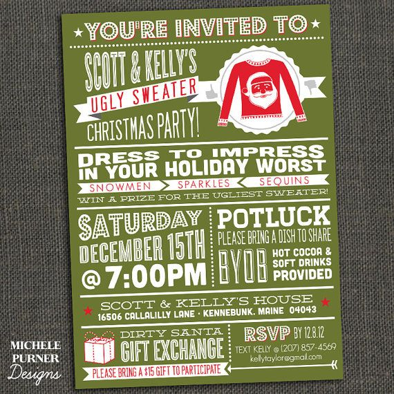 Ugly Sweater Christmas Party Invitation - Tacky Sweater - Great Typography - Printable or Printed for you from etsy. Hint: tell your guests where they can find sweaters. www.myuglychristmassweater.com is a winner.